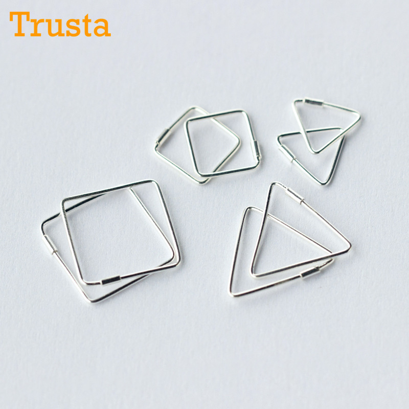 Trusta 2018 Unique Square Triangle Shaped Piercing Huggie Hoop Earring For Women Sterling Silver jewelry Earing Jewelry DS218