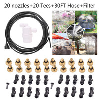 30FT/9M Outdoor Misting Cooling System Garden Irrigation Water Mister Nozzles Set