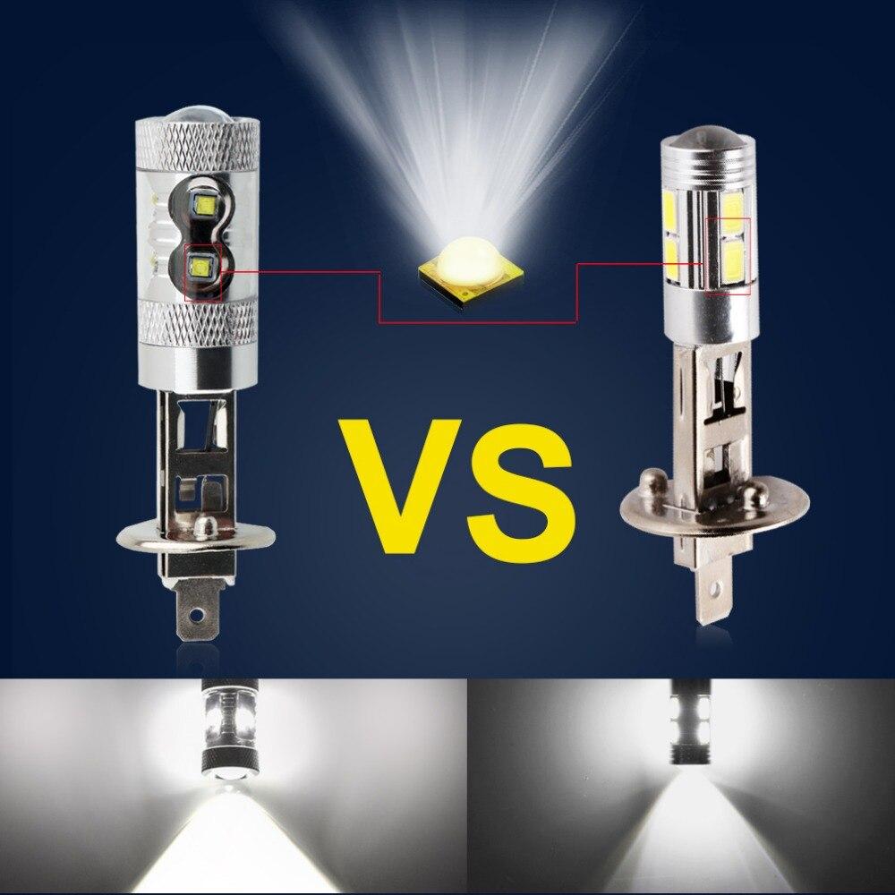 2 шт. H1 светодиодный светильник супер яркий автомобильный противотуманный светильник s 30 Вт 60 Вт 6000 К дневной ходовой светильник DRL лампа для вождения автоматические светодиоды H1 лампа 12 В