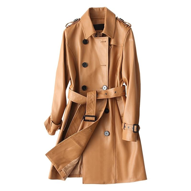 Женская куртка из натуральной овечьей кожи с отложным воротником и регулируемыми поясом, приталенное пальто из натуральной кожи на осень и