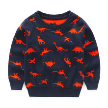 1-5 Y Baby Boy Sweater Double-faced Dinosaur Knitted Children Winter Thick Sweaters Pullover