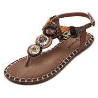 Sandals Women 2016 Summer Boho Flat Heel Black Brown Metallic Beads Ethnic Rhinestone Bohemina Thong Soft