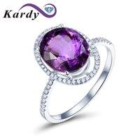 Редкие 4,56 карат Природный аметист кольцо с бриллиантами Южная Африка 27 точек Кольца с полудрагоценными камнями для Для женщин