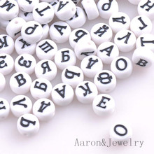 200PCs Mixed white Acrylic Russian Alphabet/Letter Flat Round Pony Beads For Jewelry Making 7x4mm  YKL0389X