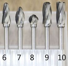 Tungsten Carbide Grinding Head Coarse Rotary File Rotary Burrs Bur DIY Wood Cutter Carving Knife Milling Tool Rasping Woodwork 6mm suit electric grinding carving tools wood carving wood carving coffee table milling cutter knife white blades
