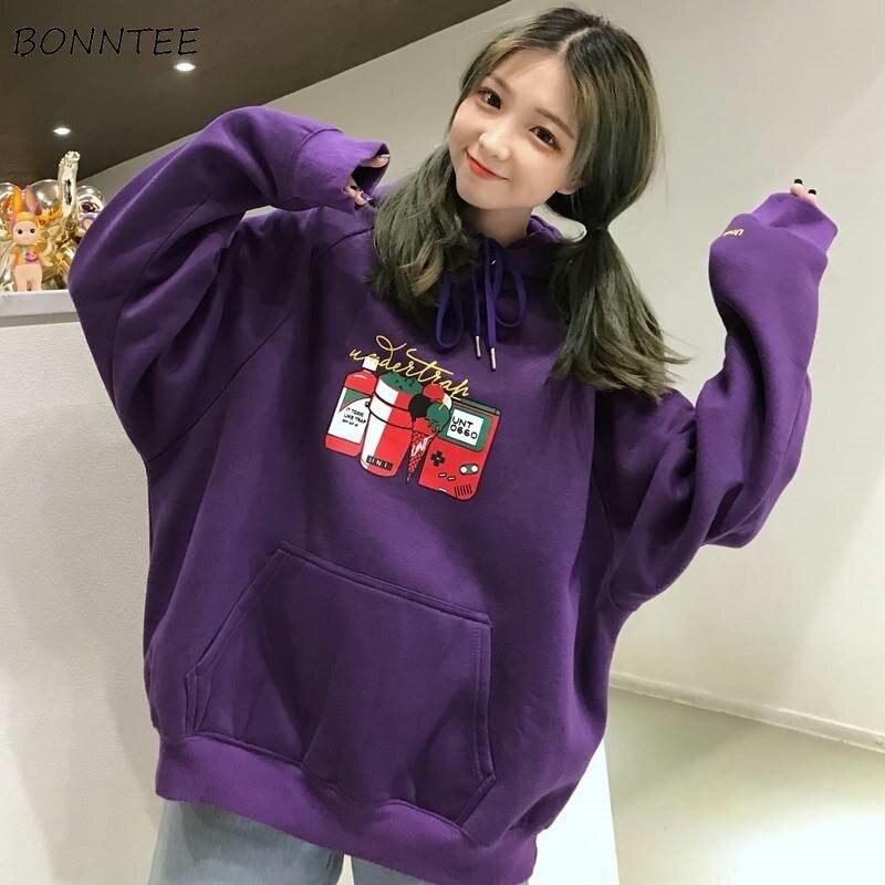 Hoodies Women Korean Style Simple Trendy Casual Streetwear Cartoon Printed High Quality Soft Loose Womens Clothing Chic Ulzzang