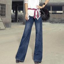2016 vintage women's wide leg flare jeans Loose bell-bottom mid waist slim trousers plus size T187