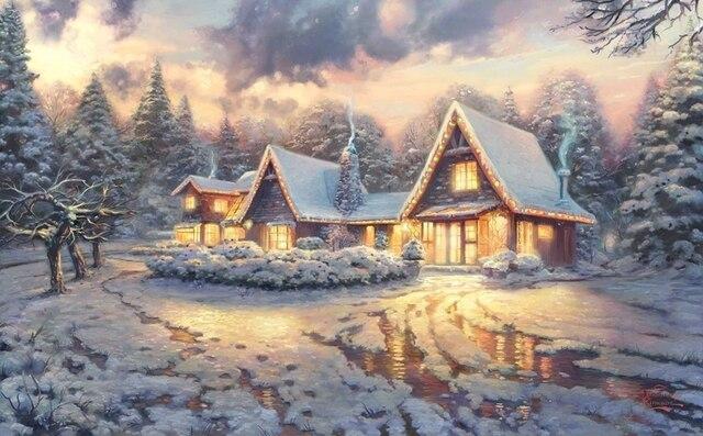 HD oil painting print on canvas Christmas Lodge art film movie Thomas Kinkade 082