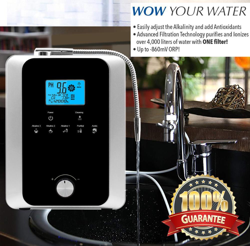 La Machine à ioniseur d'eau de haute qualité produit un acide alcalin pH 3-11.0 jusqu'à-800mV ORP filtre à eau tactile LCD à nettoyage automatique