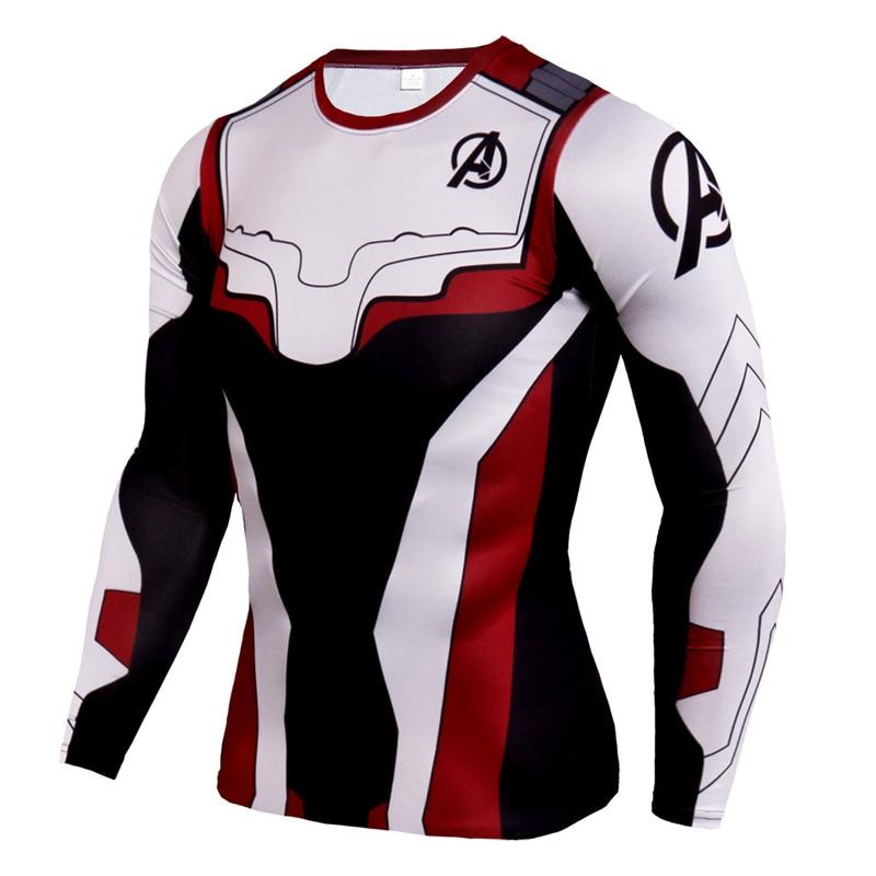 New Avengers Endgame Marvel T Shirt Dry Fit Men Running Shirts Long Sleeve Crossfit Rashgard 3D Sportswear Gym Training Shirt