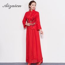 China Dress Women Cheongsams Red Lace Embroidery Qipao Chinese Wedding Dresses Traditional Bride Traditions Robe Oriental Style