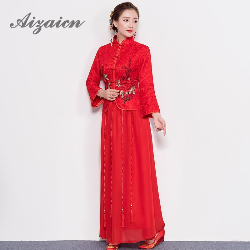Chine Robe femmes Cheongsams rouge dentelle broderie Qipao chinois robes de mariée traditionnel mariée Traditions Robe Style Oriental