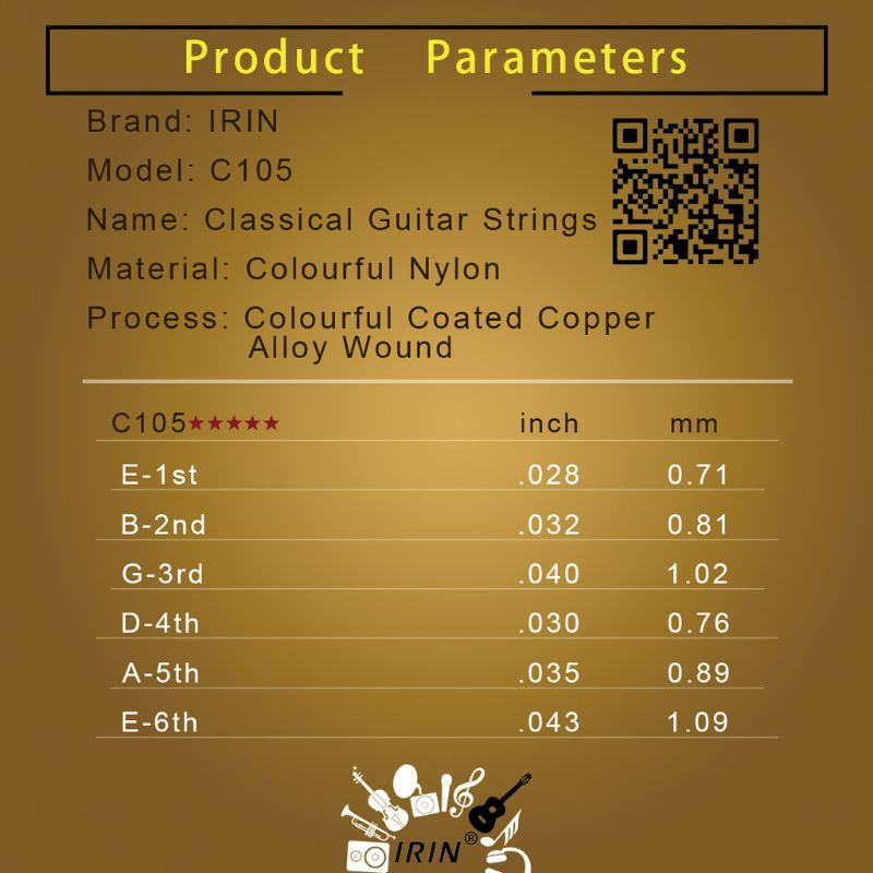 Купить с кэшбэком IRIN C105 Classical Guitar Strings Nylon Core Colorful Coated Copper Alloy Wound  Guitar Strings