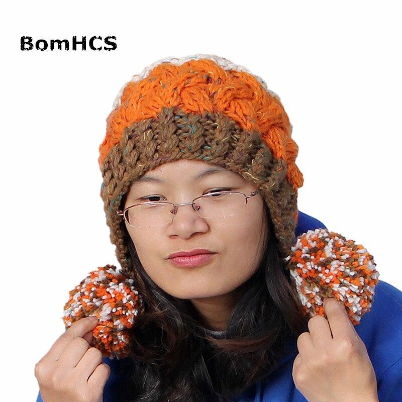 BomHCS Nette frauen Dicken Kabel Multicolor Handmade Strickmütze ...