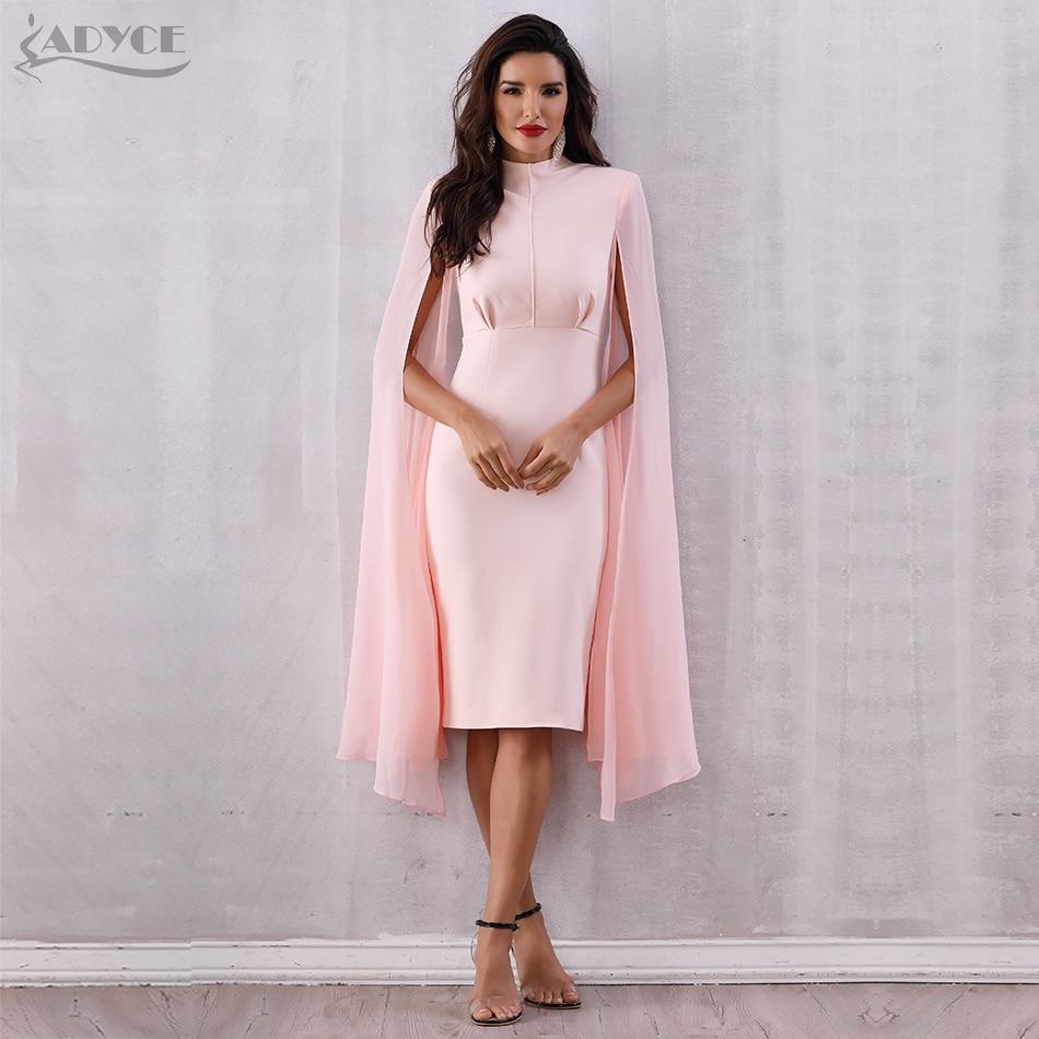 ADYCE Pink Batwing Sleeve Luxury Dess Y2716