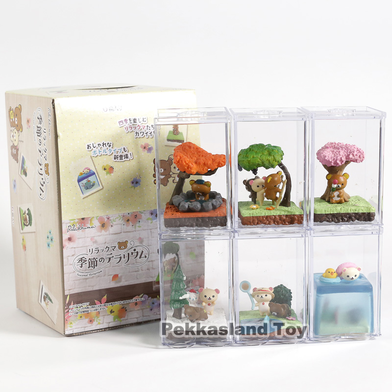 6pcs Set New Cute Bear Rilakkuma Seasonal Terrarium Boxed Mini PVC Anime Action Figure Collection Model Doll Toys Gift6pcs Set New Cute Bear Rilakkuma Seasonal Terrarium Boxed Mini PVC Anime Action Figure Collection Model Doll Toys Gift