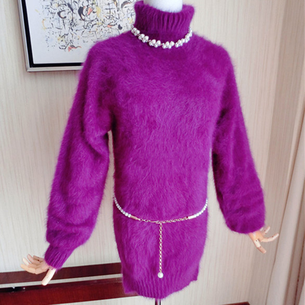 New Genuine Mink Cashmere Sweater Women 100% Mink Cashmere Pullovers With Turtleneck Collar Free Shipping TBSR289
