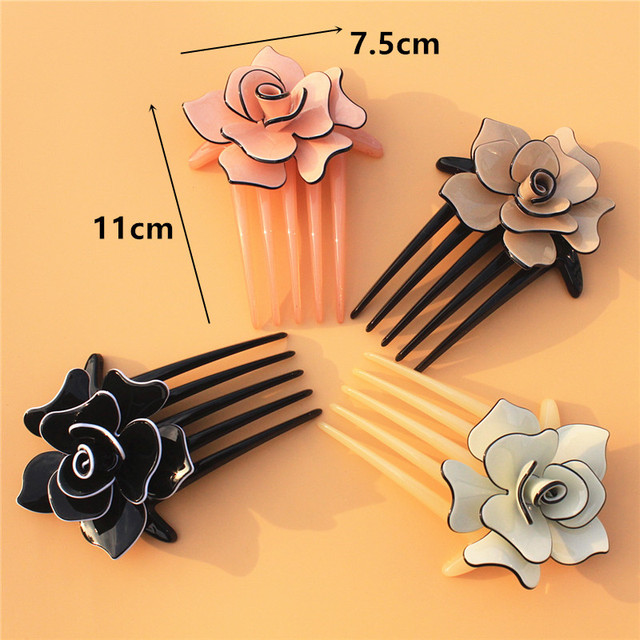 Buena Flower Hair Comb 4 colors Acrylic Clips Hair Jewelry black brown pink beige Hair accessories AC012