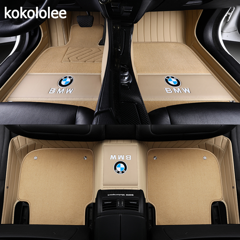 kokololee Custom Car floor mats for BMW 3 5 7 Series E46 E39 E90 E60 E36 F30 F10 F20 E30 E53 X1 X3 X4 X5 X6 G30 F10 F20 F30 F11 car believe auto automobiles leather car seat cover for bmw e30 e34 e36 e39 e46 e60 f11 f10 f30 x3 x5 e35 x1 car accessories