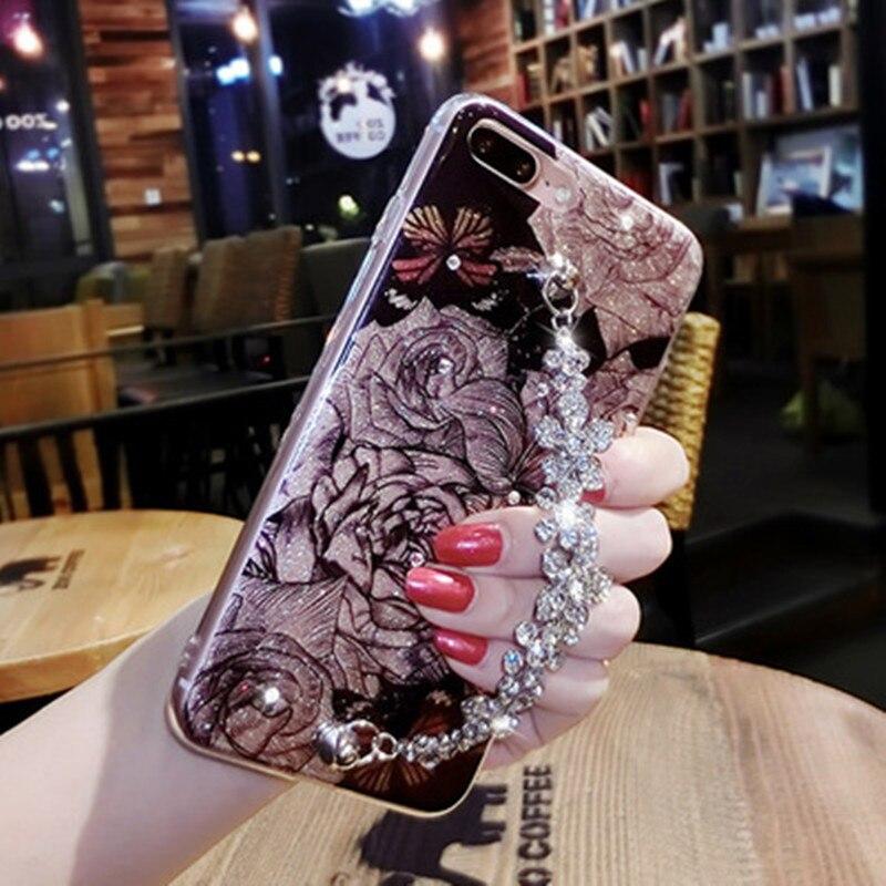 Strass Custodia In Silicone Per iPhone 6 6 S Più di Scintillio Del Fiore Caso di lusso Del Diamante Per il iphone 7 8 Plus X Casi Coque