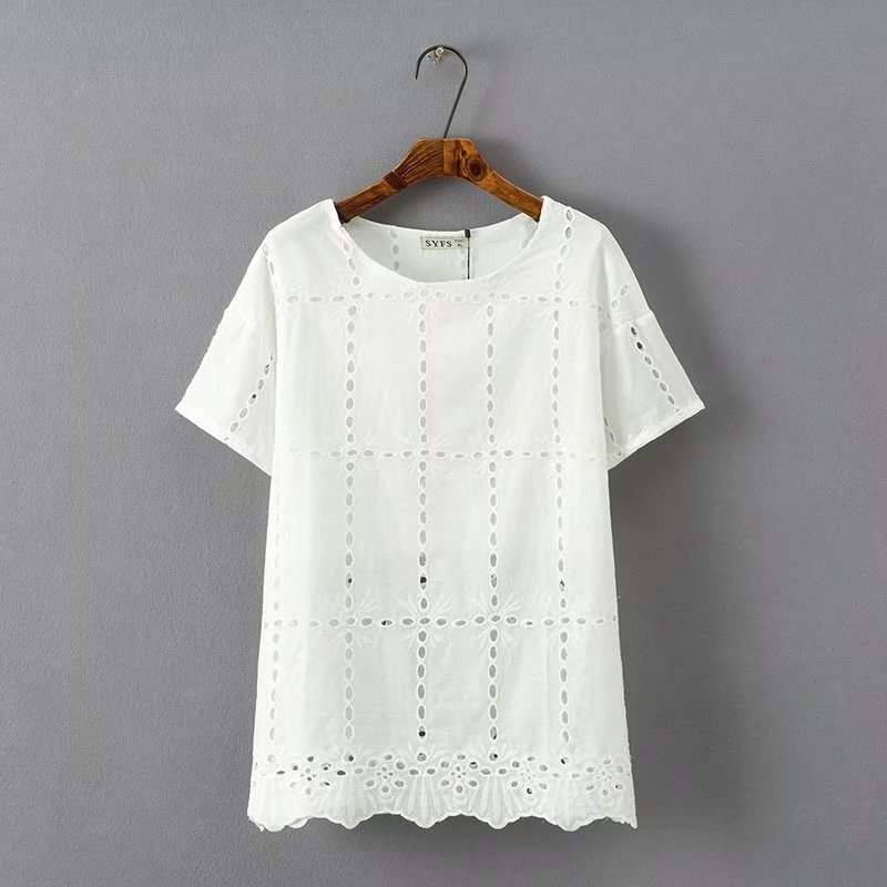 Plus size O-Neck short sleeve women t shirts 2018 white & red Embroidered hollow out t-shirt women tops tshirt summer tee shirt