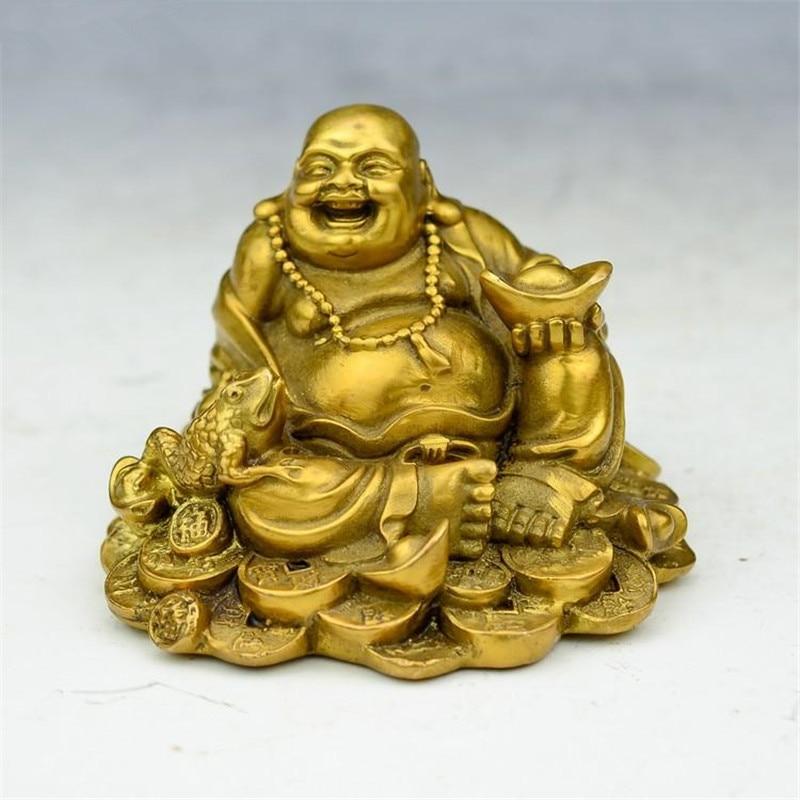 Richesse en laiton chinois crapaud d'or Spittor heureux rire Statue de bouddha Maitreya R65
