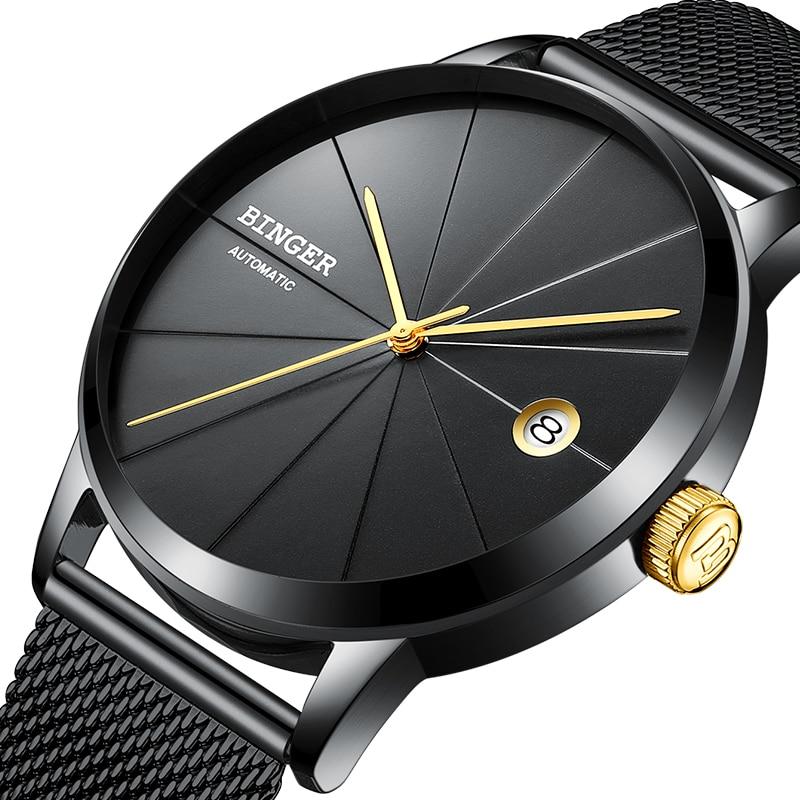 BINGER Montres Hommes Marque De Luxe automatique mécanique Hommes Montre Saphir Montre-Bracelet Mâle Japon NH35A Mouvement Horloge B-5079M-4