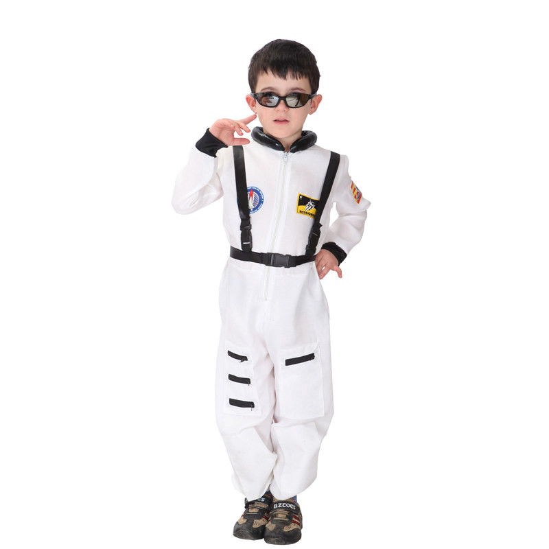 Halloween Aviation Astronaut Costume For Boys Cosplay Children Show Performance Handsome Clothing Jumpsuits+Safety harness