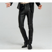 Pu Pants Skinny Faux Leather Pants For Men Slim Fit Joggers PU leather Motorcycle Biker Tights Trousers