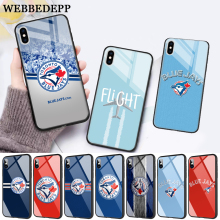 купить WEBBEDEPP Baseball Toronto Blue Jays Logo Glass Phone Case for Apple iPhone 11 Pro X XS Max 6 6S 7 8 Plus 5 5S SE дешево