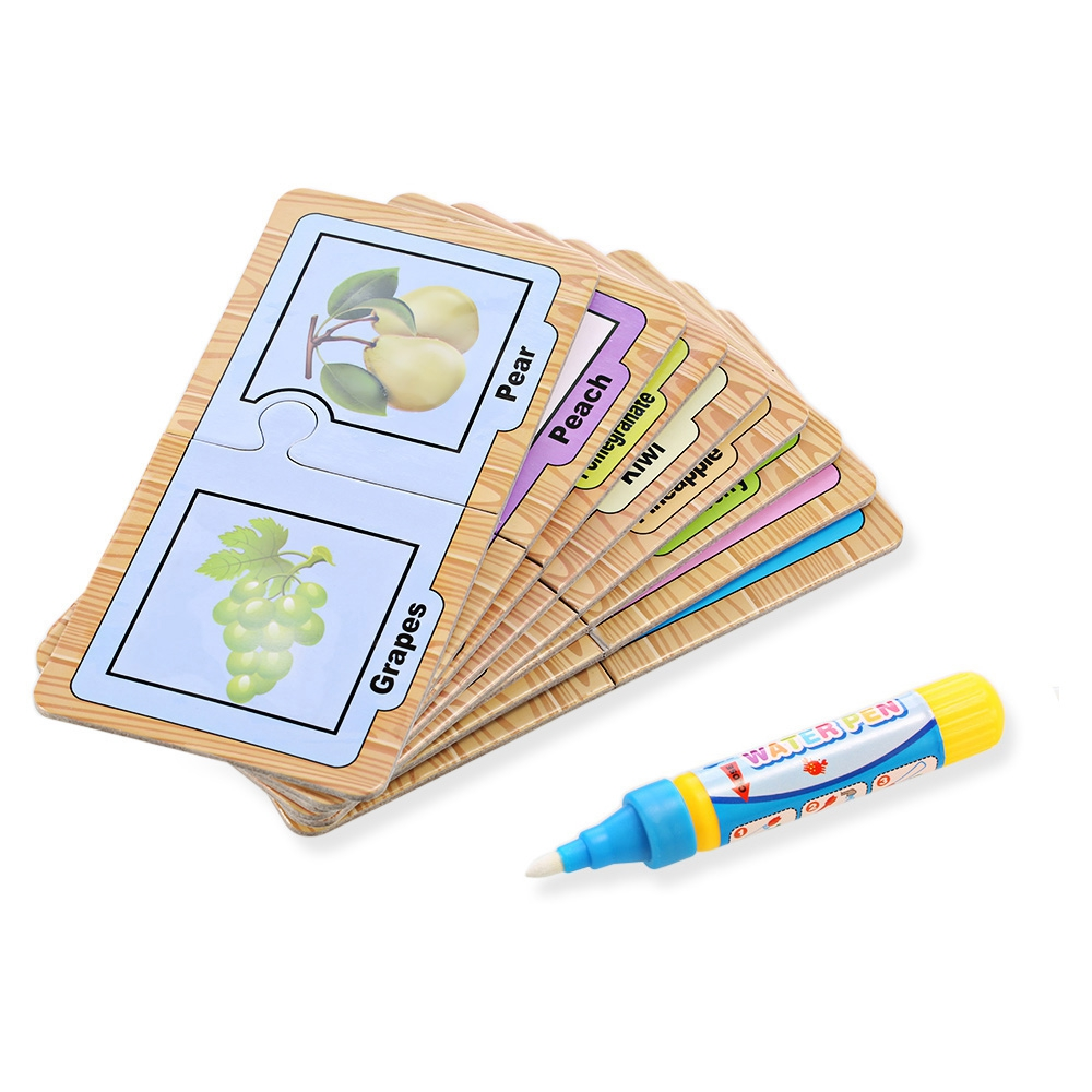 Children English Learning Card Magic Water Drawing Board Children Early Educational Toys Mixed Color Kids Drawing Learning Toys