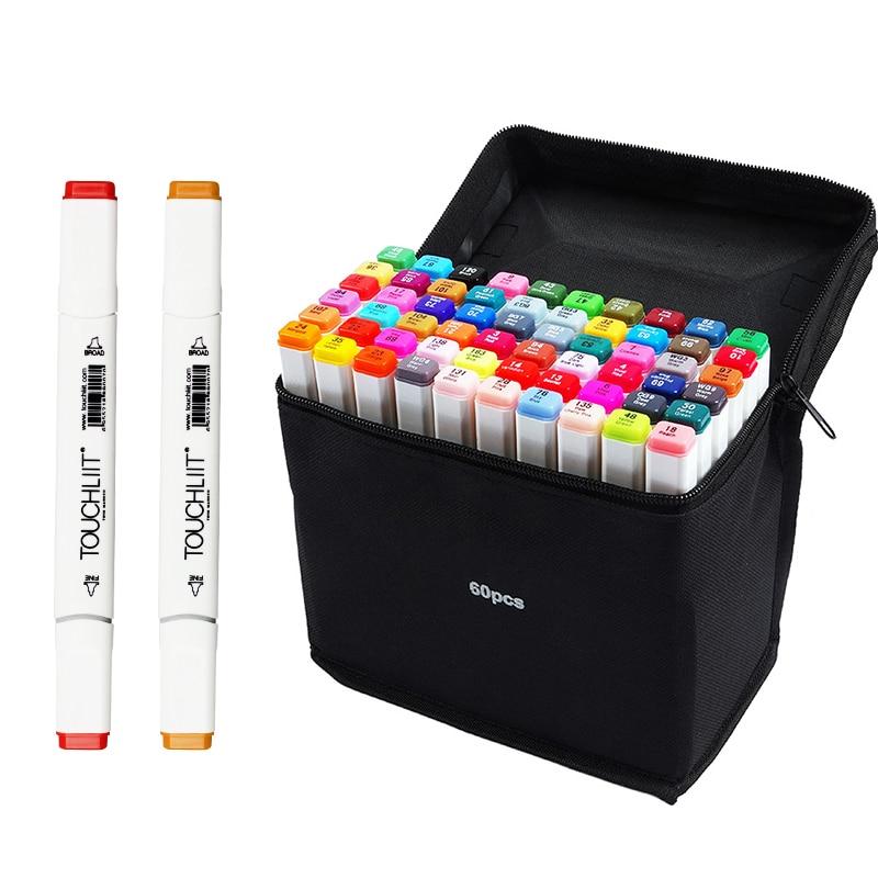 168 Colori Touchliit Sei Generazione A Base di Alcool Doppia Marcatori per il Disegno Comic Desigh Doppio Schizzo A Penna Della Spazzola