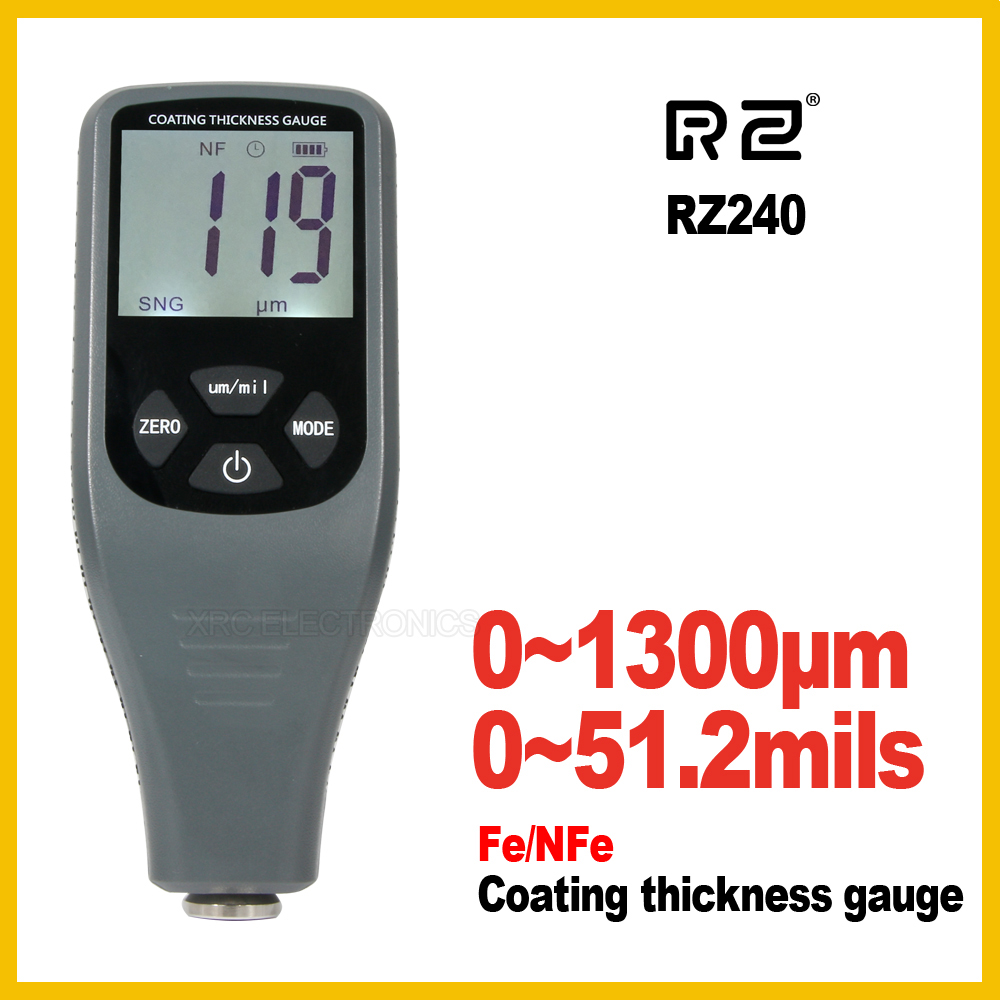 Coating Thickness Gauge Digital Coating Paint Thickness Gauge Meter Tools Ferrous and non-Ferrous 2 in 1 RZ240Coating Thickness Gauge Digital Coating Paint Thickness Gauge Meter Tools Ferrous and non-Ferrous 2 in 1 RZ240