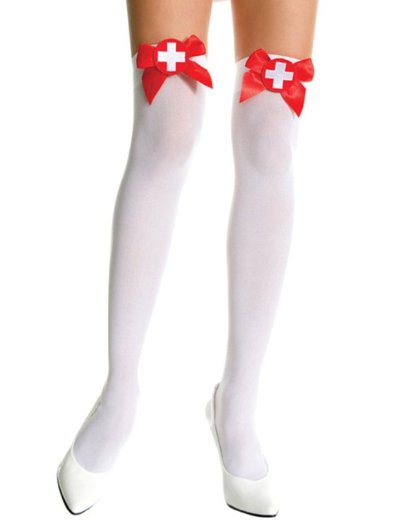 Sheer Lace Top Thigh Hi  W//Satin Bow Hosiery Adult