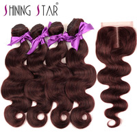 Burgundy Brazilian Hair 4 Bundles With Closure 99J Human Hair Weave Bundles With Middle Part Closure