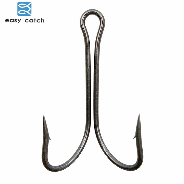 Easy catch 50pcs 9908 double fishing hooks small fly tying for Fishing hook sizes for bass