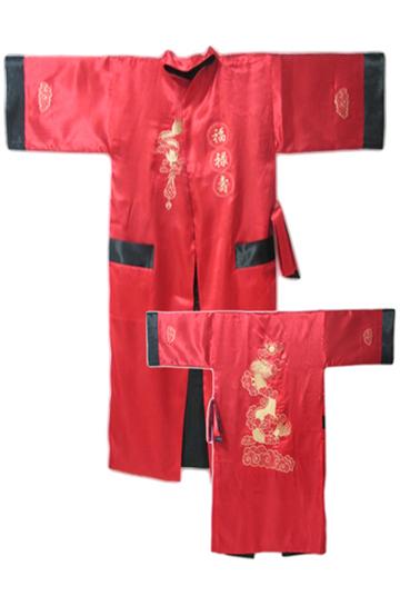 Venda Hot Red Preto Masculino de Cetim de Seda Reversível Vestido de Túnica Chinês Do Vintage Two-Side Vestido de Noite Bordado Pijamas tamanho MR003
