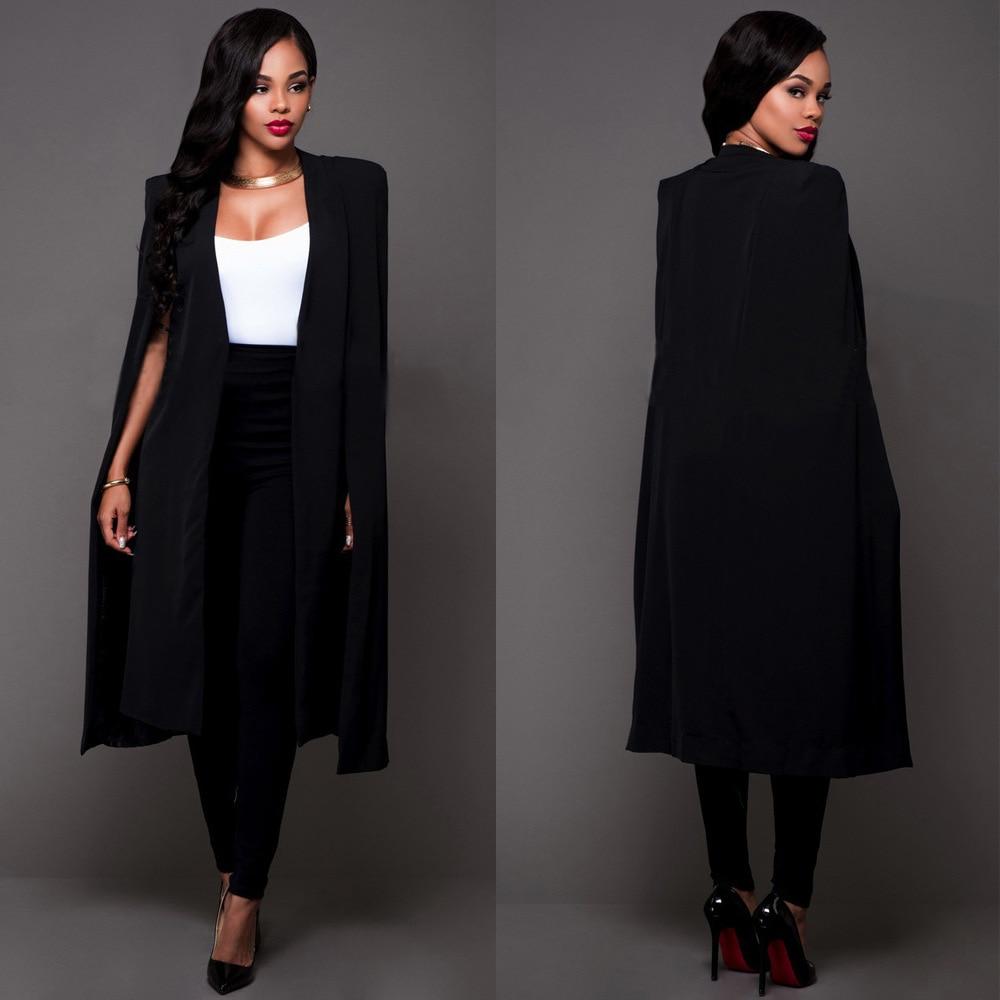 0cbada5a8 Blazers Chaquetas Blazer Long Suits elegante señora abrigo oficina trabajo  ropa mujer un botón negro Blaser mujer Chaquetas mujer