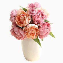 Champagne Peony Bouquet Artificial Flower Flowers Home Decoration Wedding Fake