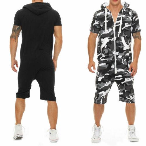 Men Short Sleeve One-Piece Suits Jumpsuit Playsuits Romper Pokect Men's Jumpsuit One Piece Outfits Short Sleeve Zipper Overall