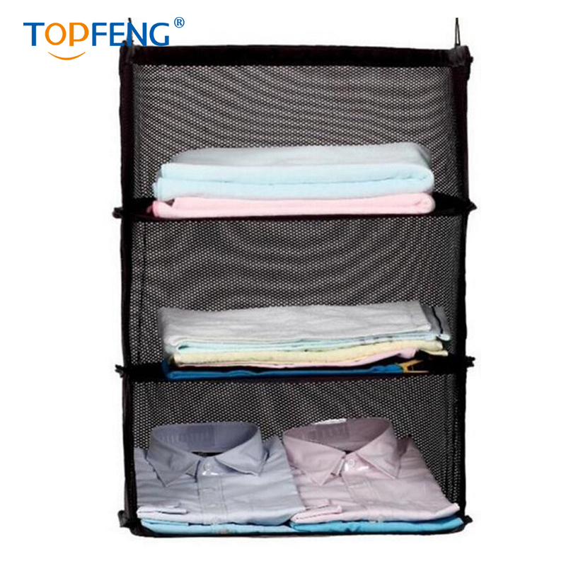 TopFeng 3 Layers Portable Travel Storage Bag Hook Hanging Organizer Wardrobe Clothes Rack Holder Suitcase Shelves