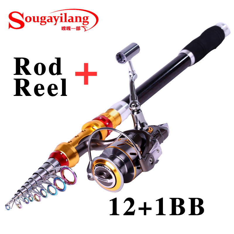 ФОТО Sougayilang 3.6M Rod With Reel 13BB Rock Boat Carbon Telescopic Fishing Rod Spinning Fishing Reel Fishing Rod Set Fishing Tackle