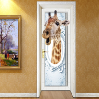 Animal 3D Decal Wall Stickers Home Decorations 3D Giraffe PVC Wallpaper For Home Living Room Bedroom