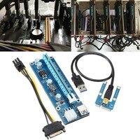 5 יחידות USB 3.0 Mini PCI-E 1x 4x 8x 16x עד 16x Extender Riser כרטיס מתאם כבל חשמל זכר 15pin SATA מתח 6pin כרייה כבל
