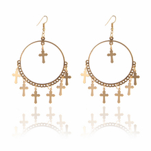 E040 Fashion Gold Color Cross Tassel Earrings For Women Vintage Round Drop Earrings High Quality Party Jewelry Gift Dropshipping