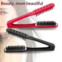 Ceramic Straightening Comb Double Sided Hair Brush Clamp Hairdressing Natural Fibres Bristle Comb Hairstylig Tool hairbrushes