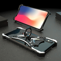 R JUST for iphone 7 case 68 p X Heavy Duty Doom Armor Metal Case Dirt resistant Shockproof Ring Holer phone cover Tempered glass