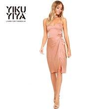 YIKUYIYA 2017 Sexy V Neck Women Dress Vestidos Pink Sweet Casual Slim Cami Strap Mini Dress Sleeveless High Waist Bodycon Dress