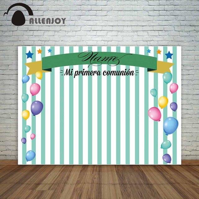 Allenjoy backdrop photographic custom colorful balloons green stripes ribbon communion celebration camera photocall background
