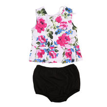 Summer Newborn Baby Girls Floral Vest Tops+Shorts PP Pants Clothing Set Joli Fille Outfits Clothes Sunsuit 0-24M 2019 girls summer clothes kids clothing ensemble fille 2017 brand baby girls sets ruffle tank tops shorts children outfits 10 colors